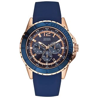 Guess Men's Rose Gold Plate & Blue Silicone Strap Watch - Product number 3427889