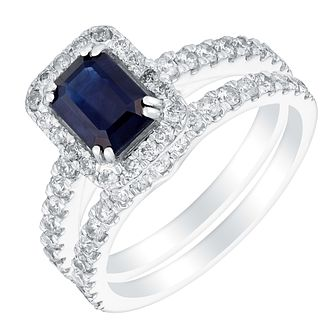 18ct White Gold 1ct Diamond & Sapphire Bridal Set - Product number 3428559