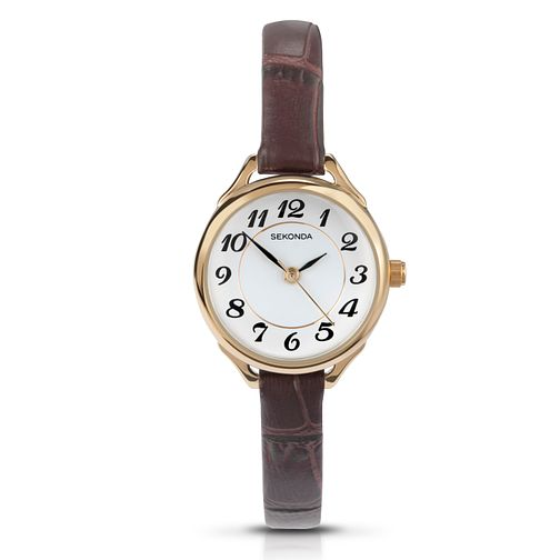 Sekonda Ladies' Yellow Gold Plate & Brown Leather Watch - Product number 3434567