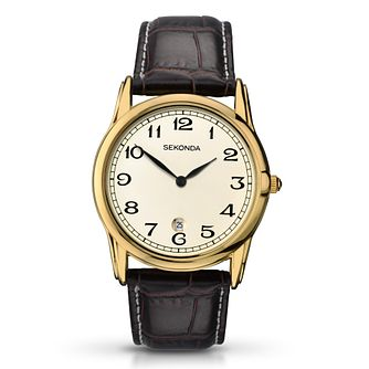 Sekonda Men's Yellow Gold Plate & Brown Leather Watch - Product number 3434583