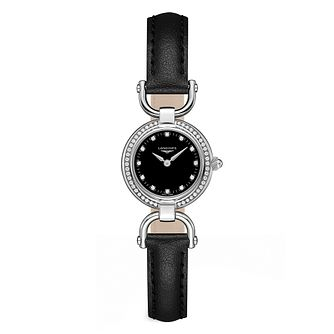 Longines Equestrian Ladies' Diamond Black Strap Watch - Product number 3448533