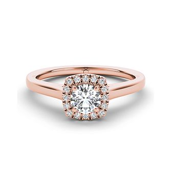 The Diamond Story 18ct rose gold 1/3ct diamond halo ring - Product number 3454398