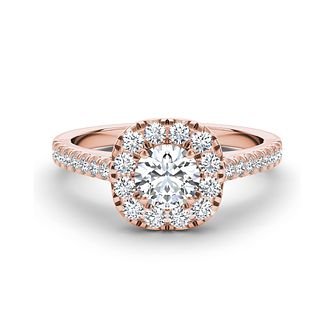 The Diamond Story 18ct rose gold 1ct diamond halo ring - Product number 3454924