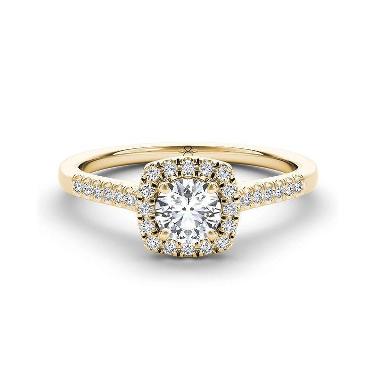 The Diamond Story 18ct yellow gold 0.66ct diamond halo ring - Product number 3458938