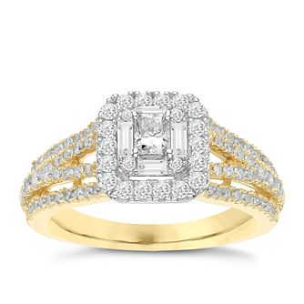 18ct Yellow Gold 1ct Diamond Halo and Hidden Ruby Bridal Set - Product number 3470563