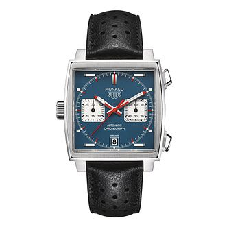 TAG Heuer Monaco men's blue dial leather strap watch - Product number 3477177