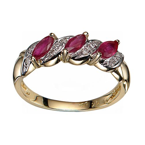 9ct Yellow Gold Ruby And Diamond Ring - Product number 3477371