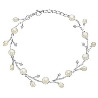 Silver Pearl & Cubic Zirconia Vine Bracelet - Product number 3485811