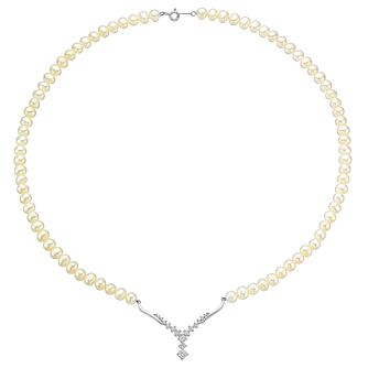 "Silver, Pearl & Cubic Zirconia 18"" Wishbone Necklace - Product number 3486915"