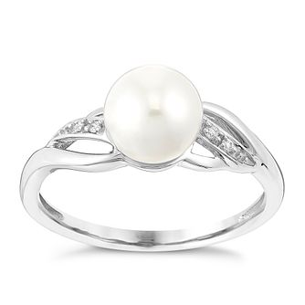 White Gold Pearl & Cubic Zirconia Swirl Ring