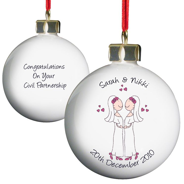 Personalised Female Civil Partnership Bauble - Product number 3487768