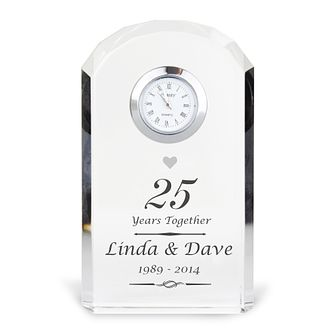 Engraved Silver Anniversary Crystal Clock - Product number 3499103