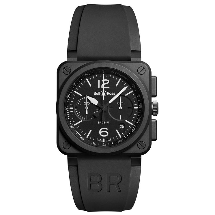 Bell & Ross BR-03 men's ion plated chronograph strap watch - Product number 3509826