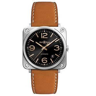 Bell & Ross BR S-92 men's stainless steel tan strap watch - Product number 3511804