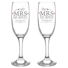 Personalised Mrs & Mrs Pair of Flutes - Product number 3513114