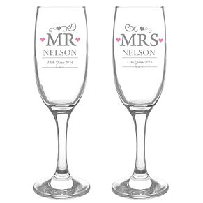 Personalised Mr & Mrs Pair of Flutes - Product number 3513122