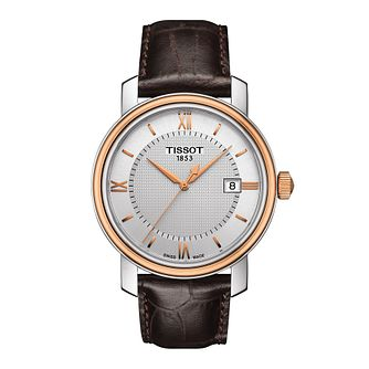 Tissot Bridgeport men's two colour brown leather strap watch - Product number 3518876