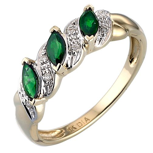 Gold Emerald & Diamond Ring - Product number 3528170