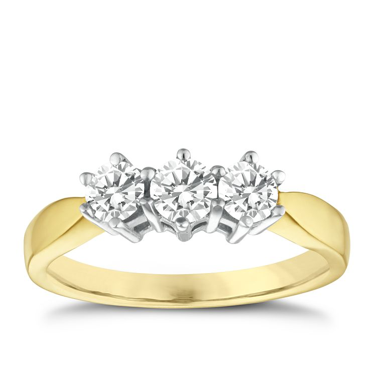 18ct Yellow Gold 0.75ct diamond ring - Product number 3532658