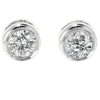 9ct white gold 0.25ct diamond solitaire earrings - Product number 3532720