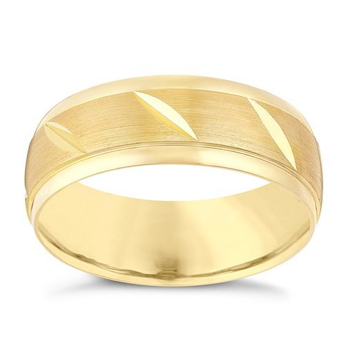 9ct Yellow Gold Diagonal Groove Matt Finish Wedding Ring - Product number 3534391