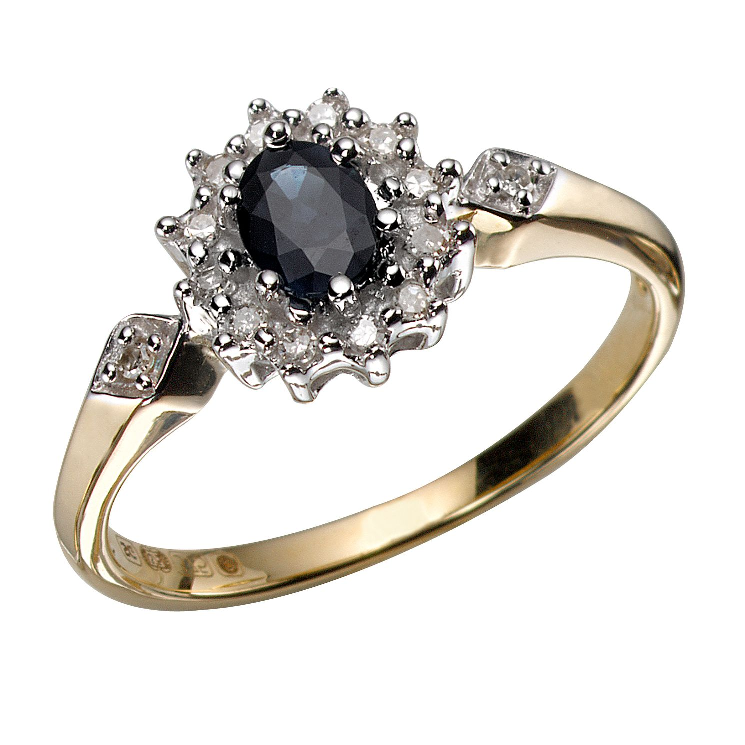spinel diamond pin engagement gold rings wedding floral blue two dark ring tone halo