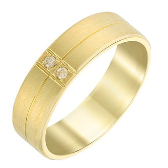 Men's 9ct Yellow Gold & Diamond 6mm Matt Finish Wedding Ring - Product number 3537846