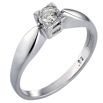 9ct White Gold Diamond Solitaire Ring - Product number 3538540