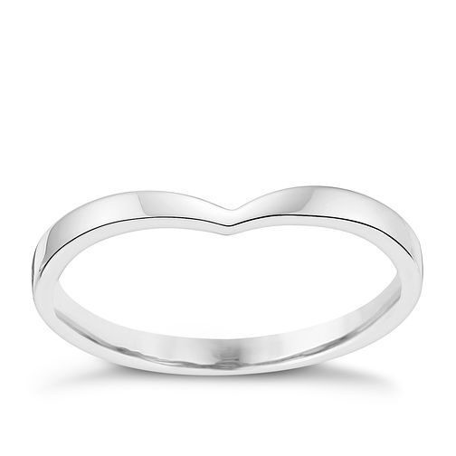 Ladies' 9ct White Gold Shaped Slim Wedding Ring - Product number 3539407