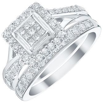 9ct White Gold 2/3ct Princess Cut Diamond Bridal Ring Set - Product number 3541614