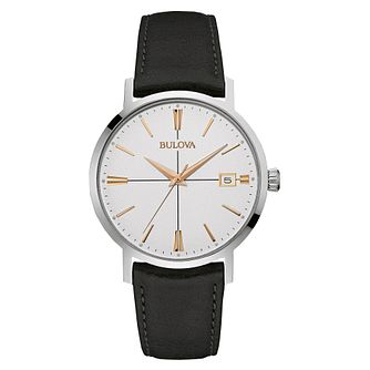 Bulova Men's Aerojet Black Leather Strap Watch - Product number 3542351