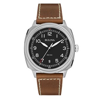 Bulova military men's stainless steel brown strap watch - Product number 3542521