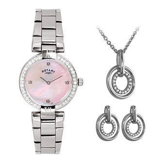 Rotary Ladies' Steel Bracelet Watch, Pendant & Earrings Set - Product number 3542734