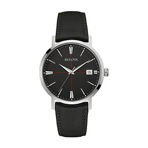 Bulova Men's Classic Aerojet Black Leather Strap Watch - Product number 3547000