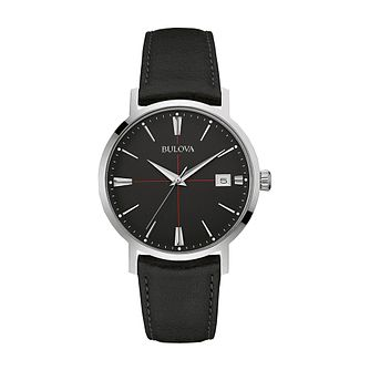 Bulova Men's Black Dial Black Leather Strap Watch - Product number 3547000