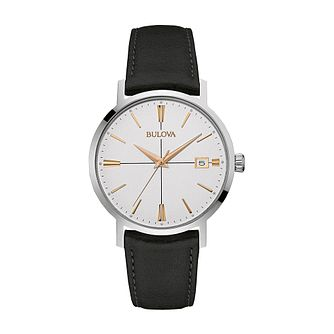 Bulova Men's Silver Dial Black Leather Strap Watch - Product number 3547213