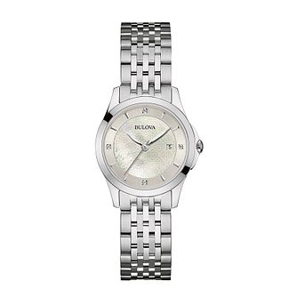 Bulova Ladies' Diamond Set Stainless Steel Bracelet Watch - Product number 3547949