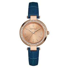 Caravelle New York Ladies' Blue Leather Strap Watch - Product number 3549844