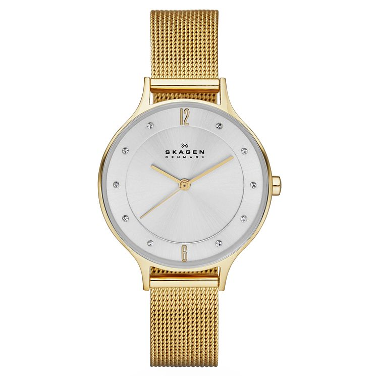 Skagen Ladies' Anita Yellow Gold Plated Mesh Strap Watch - Product number 3559025