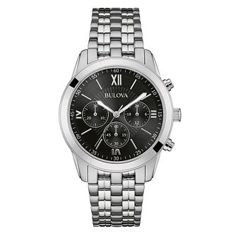 Bulova Men's Black Dial Stainless Steel Bracelet Watch - Product number 3562611