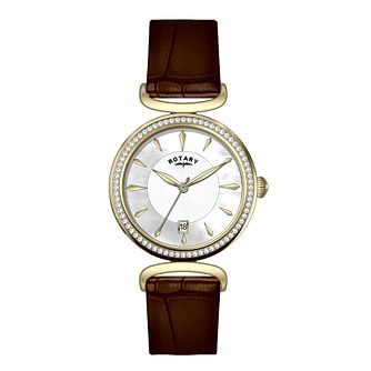 Rotary Ladies' Stone Set Brown Leather Strap Watch - Product number 3562719