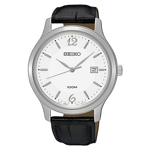 Seiko Men's White Dial Black Leather Strap Watch - Product number 3562832
