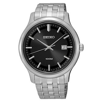 Seiko Men's Black Dial Stainless Steel Bracelet Watch - Product number 3562840
