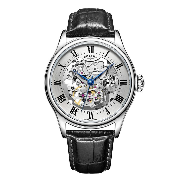 Rotary Men's Stainless Steel & Leather Skeleton Dial Watch - Product number 3565823