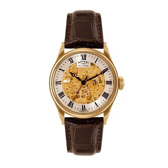 Men's Rotary Yellow Gold Plate Leather Skeleton Dial Watch - Product number 3565858
