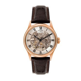 Men's Rotary Rose Gold Plate & Leather Skeleton Dial Watch - Product number 3565866