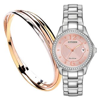 Citizen Eco-Drive Ladies' Steel Bracelet Watch & Bangle Set - Product number 3567613