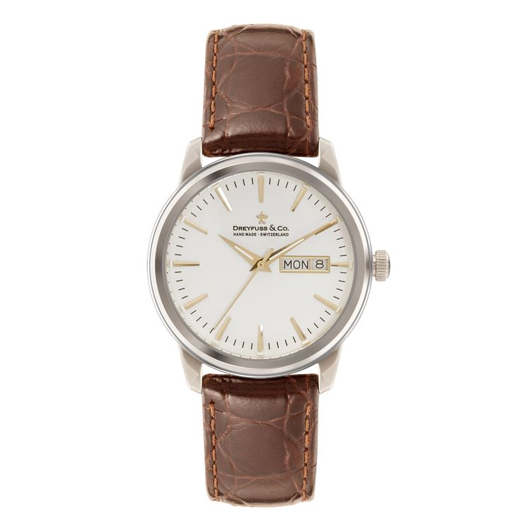 Dreyfuss & Co Ladies' Stainless Steel White Dial Strap Watch - Product number 3569500