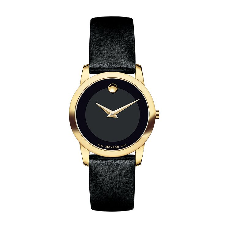 Movado Museum ladies' gold-plated black dial strap watch - Product number 3572595