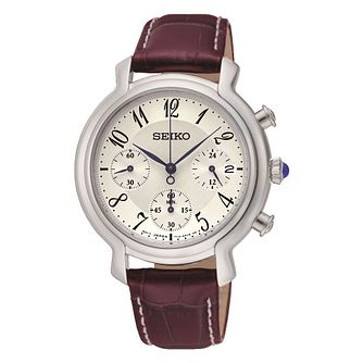 Seiko Ladies' White Dial Brown Leather Strap Watch - Product number 3573052